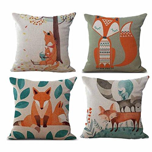 Bokeley Pillow Case, 4 Pack Cotton Linen Square Fox Plant Print Decorative Throw Pillow Case Bed Home Decor Cushion Cover (B)