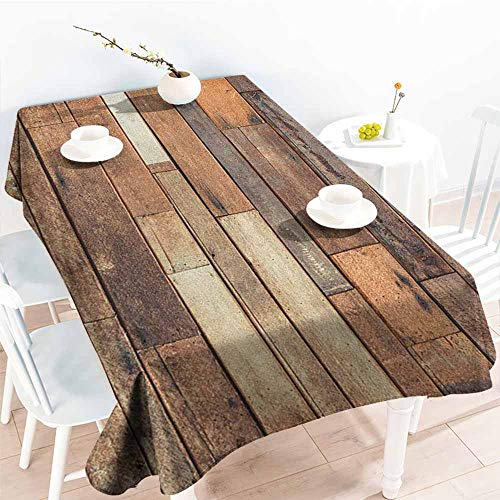 Washable Tablecloth,Wooden Rustic Floor Planks Print Grungy Look Farm House Country Style Walnut Oak Grain Image,Modern Minimalist,W60X102L Brown