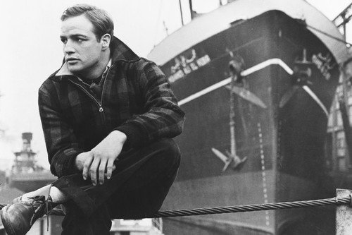 (Marlon Brando On The Waterfront Posing By Ship On Docks 24x36 Poster)
