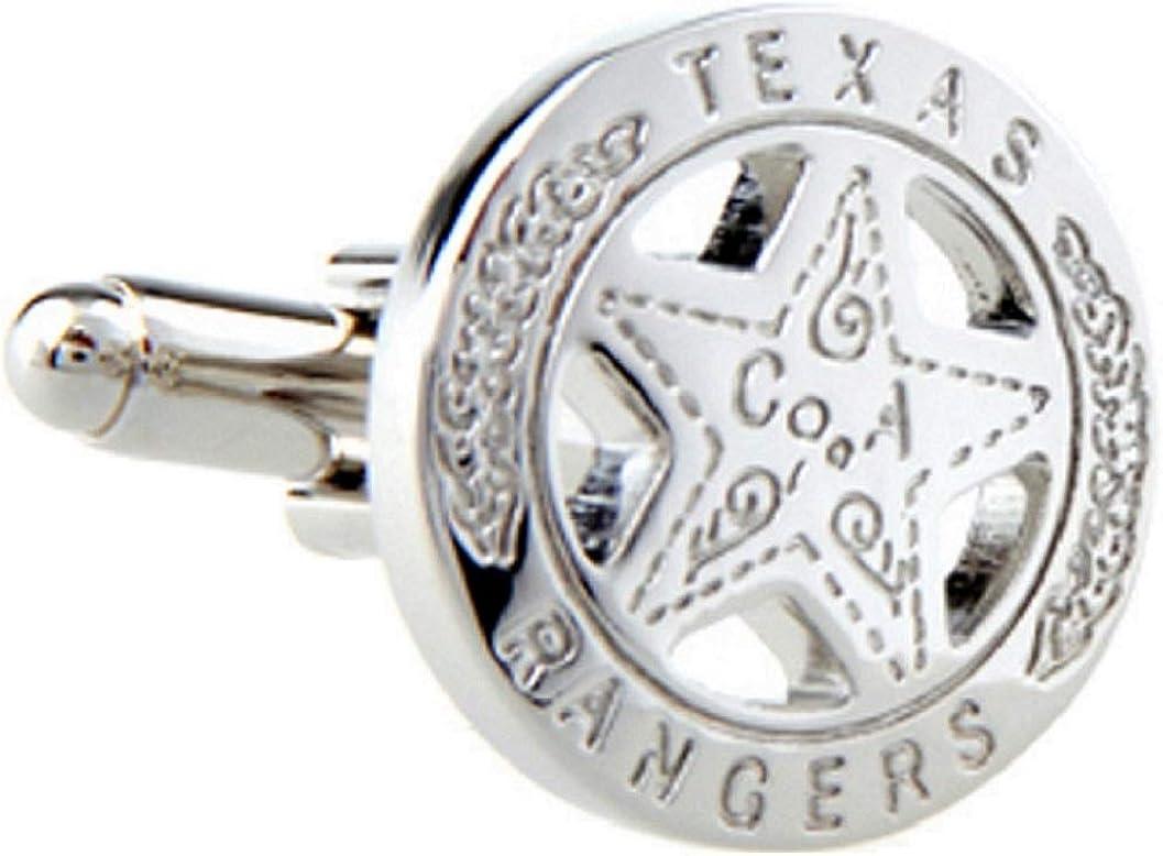 MRCUFF Texas Ranger Badge Star Pair Cufflinks in a Presentation Gift Box & Polishing Cloth