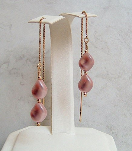 Powdered Mother Of Pearl - Powdered Rose Swarovski Elements Simulated Wave Pearl Earrings Gold Filled Ear Threaders