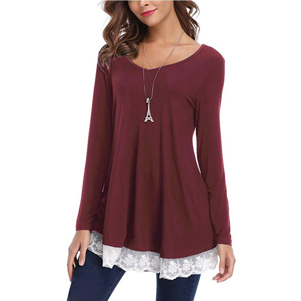 68c0fbc32d18df iZHH Dress for Women Fashion Casual Skirt V-Neck Long Sleeve Loose Lace  Tops Tunic Blouse at Amazon Women's Clothing store:
