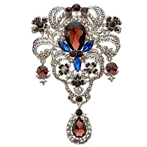 EVER FAITH Austrian Crystal Flower Bouquet Tear Drop Pendant Brooch Purple w/Blue Silver-Tone
