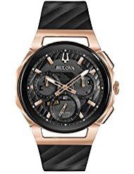 Mens Bulova Curv Chronograph Rose Gold-Tone Black Rubber Strap Watch 98A185