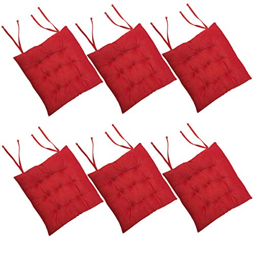 Cosyroom Set of 6 Chair Pads and Seat Cushions with Ties Non Slip Comfortable and Soft for Indoor, Dining Living Room, Kitchen, Office Chair, Den, Travel, Washable (Red, 6)