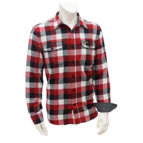 Field & Stream Men's Classic Plaid Flannel Shirt (X-Large, Hibiscus Red)