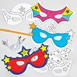 Lot de 6 Masques Super-Héros à colorier - Idéal pour le carnaval