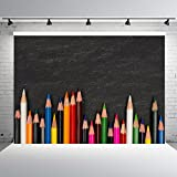 7x5ft Blackboard Backdrop for Photography Vinyl Colorful Pencil Crayons Background Props Back to School Party Banner Baby Shower