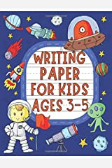 """Writing Paper for Kids Ages 3-5: Preschool, Pre-K and Kindergarten dotted line notebook for ABC handwriting practice, 120 pages 8.5 by 11"""", Space Cover Paperback"""