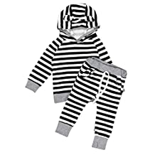 Susenstone 2pcs Infant Baby Clothes Hooded T-shirt Tops+Pants Outfits Set