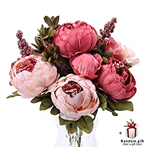 Judy Artificial Peony Silk Flowers Vintage Fake Flowers Bridal Bouquet for Home Wedding Party Decoration with 6 Flowers and 2 Buds 113