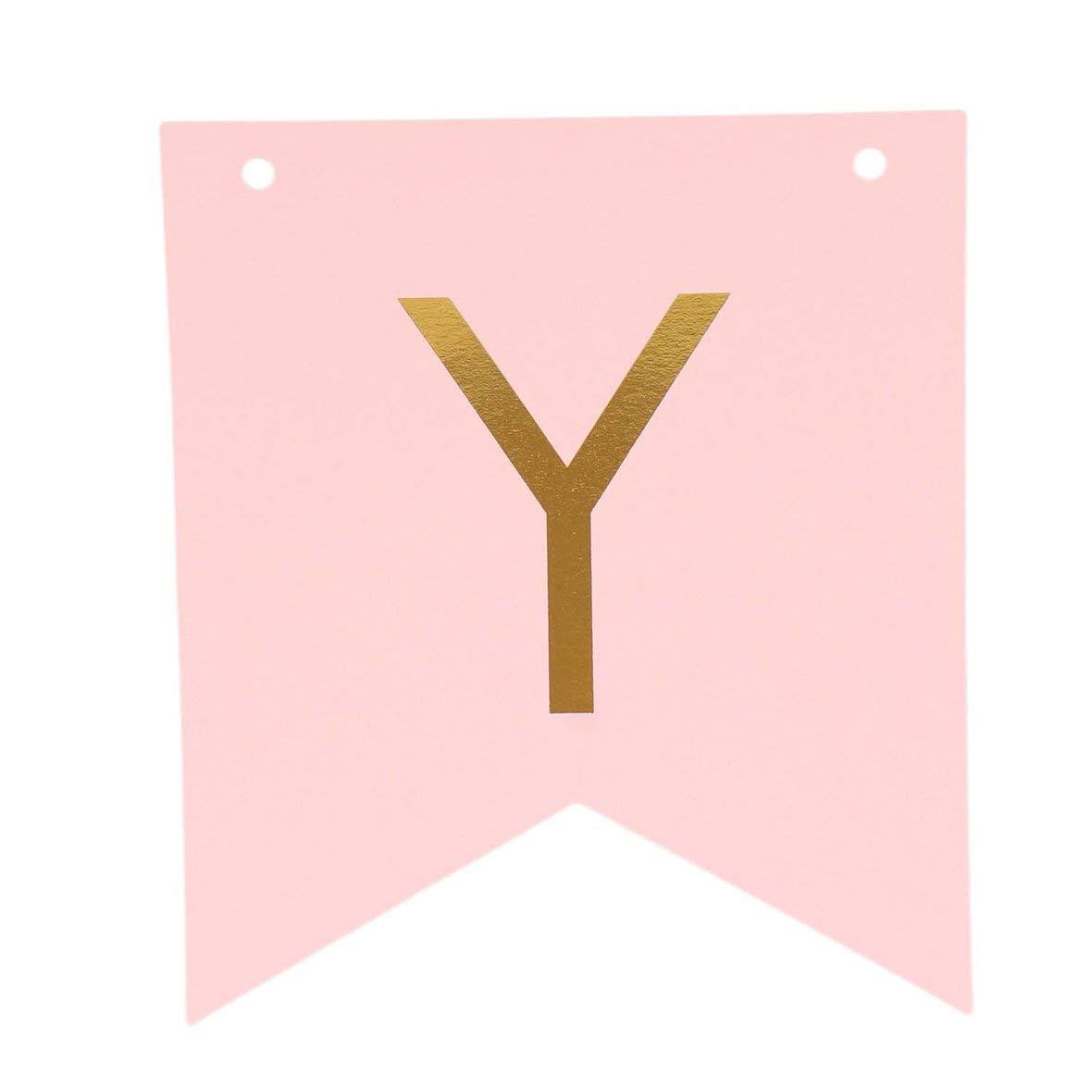 Heaviesk Rosa Feliz Cumplea/ños Banner Guirnalda Colgante Letras de Oro Apoyos Bunting Garland Boda Decoraci/ón Fiesta Accesorio del Evento