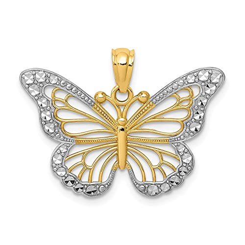 14k Yellow Gold with White Rhodium Ornate Butterfly Pendant, 26mm