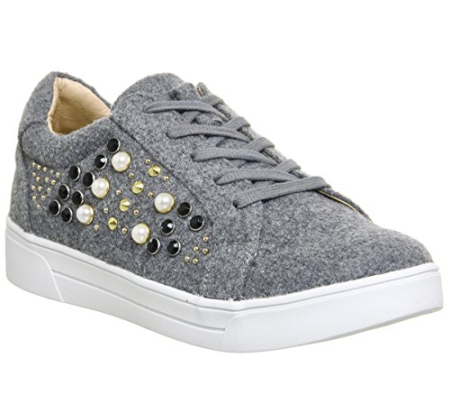 Office Cookie Embellished Lace up Trainers Grey CmwNhHpIst