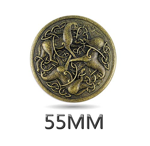 Bezelry 2 Pieces Celtic Horses Antique Brass Double Shank Metal Buttons. 55mm.