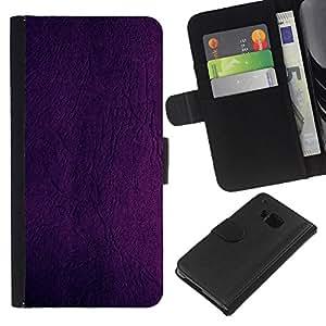 HTC One M9 , la tarjeta de Crédito Slots PU Funda de cuero Monedero caso cubierta de piel ( Purple Wallpaper Design Wall Paint Color)