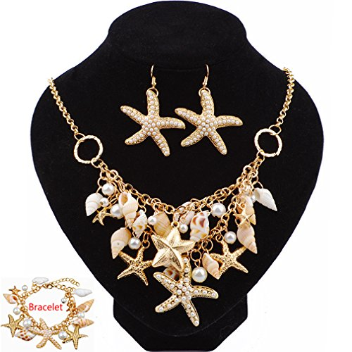 2018 Jewelry Sets Fashion Sea Shell Starfish Faux Pearl Collar Bib Statement Chunky Necklace Earrings Bracelet (S2) (Set Jewelry Shell Pearl)