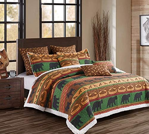 Virah Bella Lodge Preserve Printed Quilt Set with Sherpa Backing (Queen/Full)