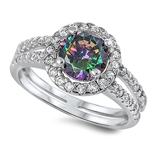 Mystic Topaz Ring (Rainbow Simulated Topaz Unique Solitaire Ring New .925 Sterling Silver Band Size 9)