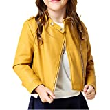 LJYH Girl's Winter Zipper PU Leather Jacket Kids Quilted Coat