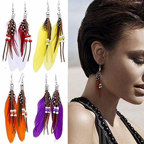 New Solitaire Earrings (Fheaven Women New Bohemia Beads Feather Tassel Long Earrings Dream Catcher Design Earrings Jewelry (purple))