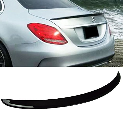 Pre-painted Trunk Spoiler Fits 2015-2018 W205 4Dr AMG Style ABS Plastic Trunk Spoiler OEM Painted Black # 040 Rear Tail Lip Deck Boot Wing Other Color Available By IKON MOTORSPORTS | 2016 2017