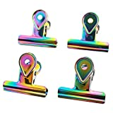Aisa 4 Pcs Laser Colorful Bulldog Clips Metal Binder Clips File Paper Bill Clamps for Home Office School Supplies