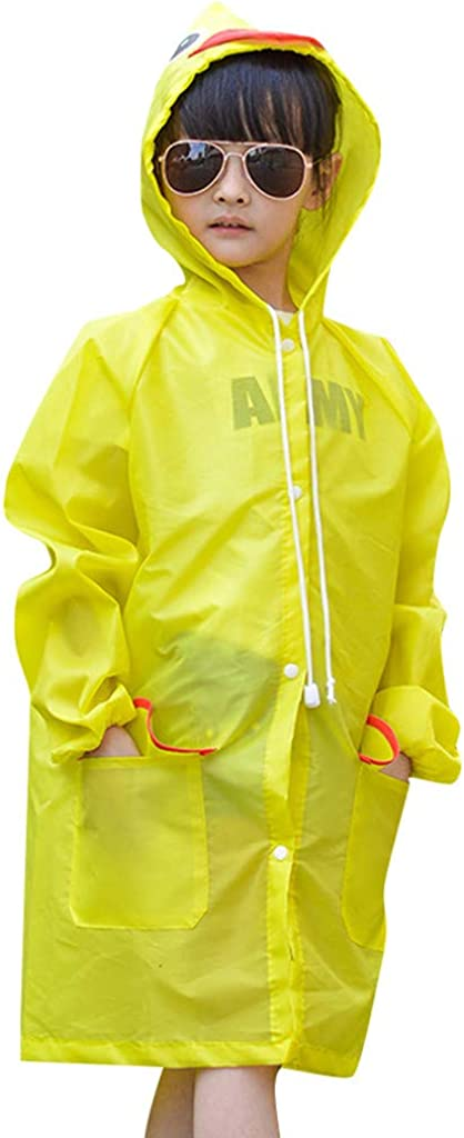 Liny Girls Boys Waterproof Rain Jacket Jumpsuit Poncho Hooded Outwear Raincoat