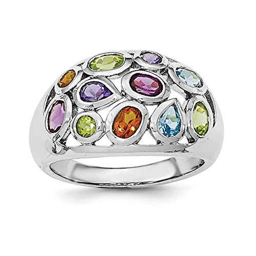 925 Sterling Silver Rhodium-plated Multi Gemstone - Multi Silver Gemstones Plated