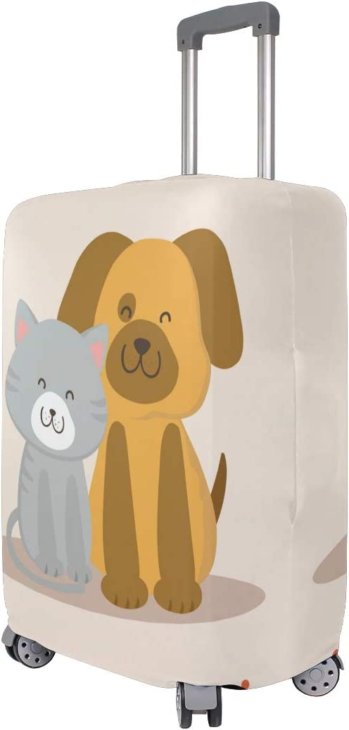 Cute 3D Cartoon Dog Cat Pattern Luggage Protector Travel Luggage Cover Trolley Case Protective Cover Fits 18-32 Inch