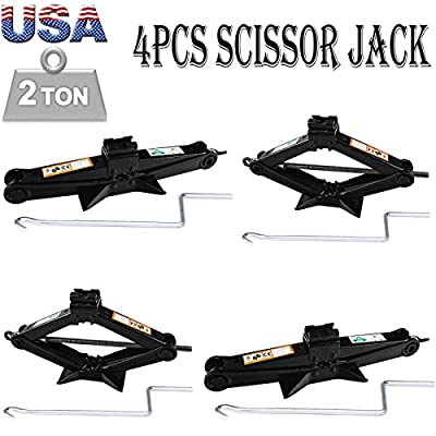 4Pcs 2 Ton Tonne Scissor Lift Jack 90-360MM Wind Up for Van Car Garage & Speed Handle Easy to Operate – Break Down Emergency Repair Tool