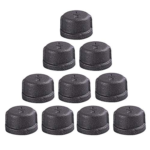 (GOOVI 1/2 Inch Malleable Cast iron Pipe Cap, DIY Retro Furniture Threaded Pipes and Fittings, 10 Pack 1/2 Inch Pipe Cap.)