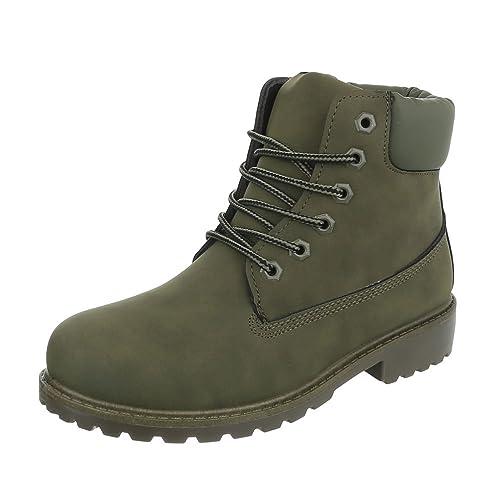 Ital-Design - Botas Militar Mujer , color verde, talla 36