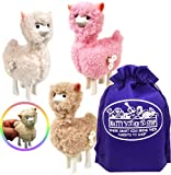 Schylling Llama Wind-Up Walkers White, Pink & Beige Gift Set Bundle with Matty's Toy Stop Storage Bag - 3 Pack