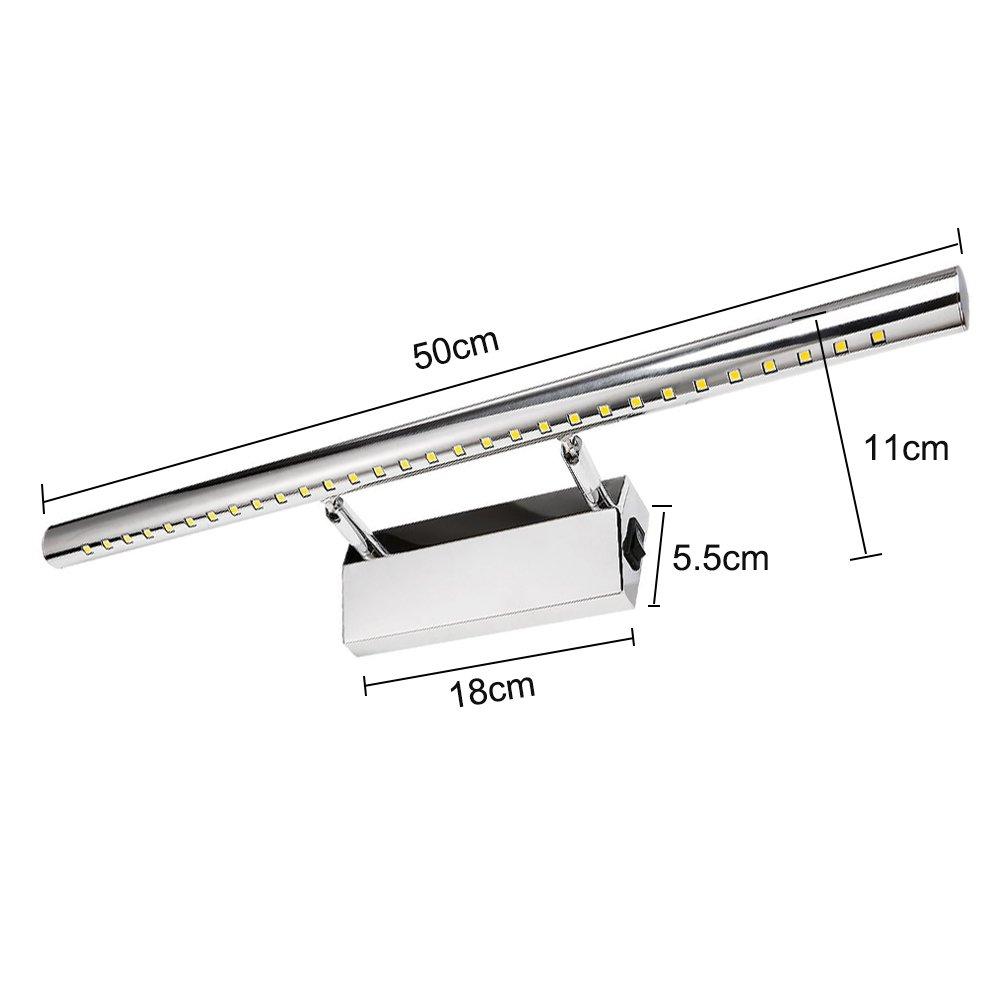 Luces LED de mueble con interruptor para espejo, baño, salón, dormitorio, 7 W 55 cm (blanco cálido 3000 K), ahorro de energía A+: Amazon.es: Iluminación