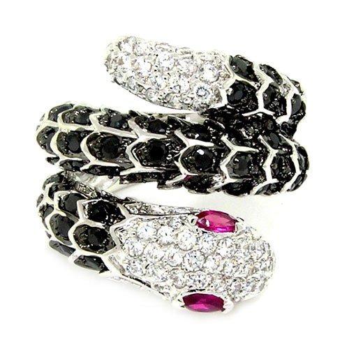 Cute Snake Large Cocktail Ring w/White, Black & Red CZs Size 7 (Black Snake Ring White)