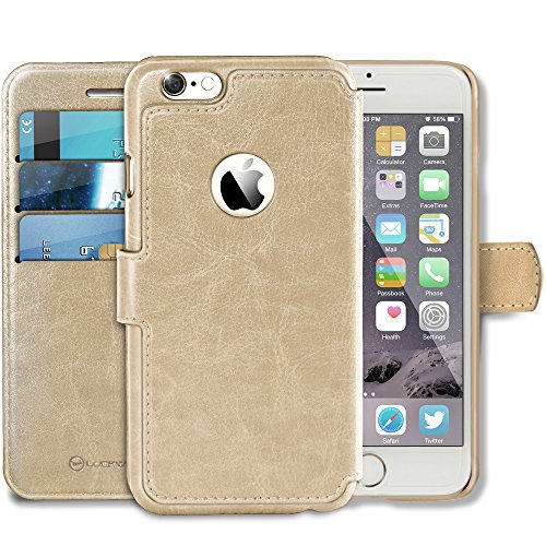 Lockwood iPhone 6/6s Plus | Folio Wallet Card Case | Faux Leather | Vintage Gold | (5.5 Inch) | Ultra Slim & Light