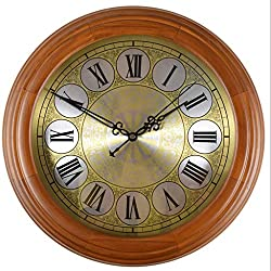 Zcx European Solid Wood Silent Clock/Wooden Quartz Wall Clock/Round Retro Digital Clock (Color : C, Size : 16 inches)