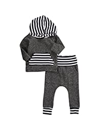 AHZZY Fashionable Baby Clothing Set Grey Striped T-shirt+Pant Infant Clothes