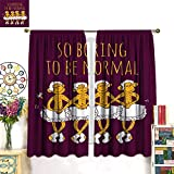 WinfreyDecor Animal Decor Curtains by Funny Ballerina Dancing Monkeys with So Boring to Be Normal Quote PrintBlackout curtainMaroon and Marigold. W63 x L72