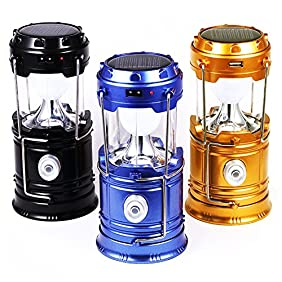 3Pack Camping Lantern Flashlights Solar Rechargeable Hiking LED Lamps, WSMY Portable Tent Lights Handheld Torch Ultra Bright for Emergency Survival Equipment