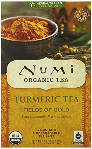 Numi Organic Turmeric Tea, Fields of Gold, Blended w/ Chamomile & Lemon Myrtle, 12 Count non-GMO Tea Bags, 3 Count