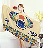 warmfamily Egyptian Customized bath Towels Ancient Antique Historical Culture Icon of Scarab Eye with Ornaments Print Print fancy towels Multicolor