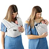 4 in 1 Baby Wrap Carrier and Ring Sling by Kids N' Such | Gray and White Stripes Cotton | Use as a Postpartum Belt and Nursing Cover with Free Carrying Pouch | Best Baby Shower Gift for Boys or Girls