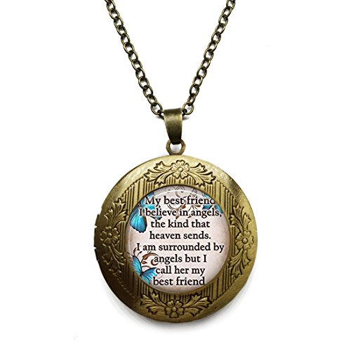 Vintage Bronze Tone Locket Picture Pendant Necklace Friend Glass Blue Butterfly Pendant Included Free Brass Chain Gifts Personalized