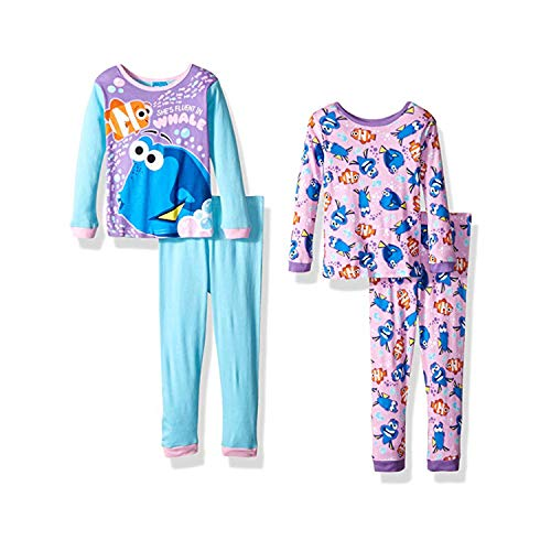 Disney Big Girls' Finding Dory 4-Piece Cotton Pajama Set, Pink, 8 (Cyber Monday Washer And Dryer Deals 2017)