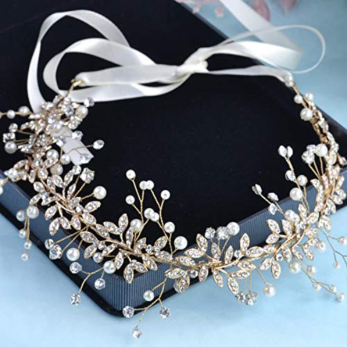 Pearl and diamond Garland Bridal Wedding/Sweet Sixteen/Flower Girl/Quinceanera Crown Headdress With Ribbon (Gold)