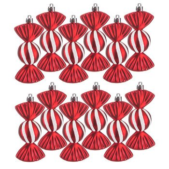(Red Candy Ornaments with White Glitter Peppermint Holiday Home Decoration 12 Candies)