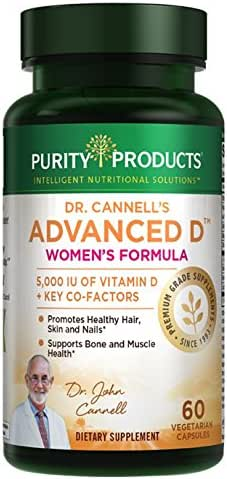 Dr. Cannell's Advanced Vitamin D Women's Formula - Purity Products - Fortified with Lutein and Biotin for Healthy Skin and Hair - 60 Vegetarian Capsules