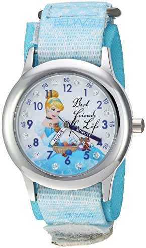 Disney Girl's 'Cinderella' Quartz Stainless Steel and Nylon Casual Watch, Color:Blue (Model: WDS000058)